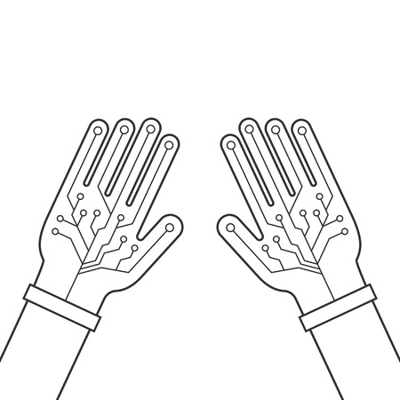 engrossed: Two black hands thin line with virtual gloves. concept of fiction ar, vr layout, data ui, smart palm, geek arm equipment. Illustration