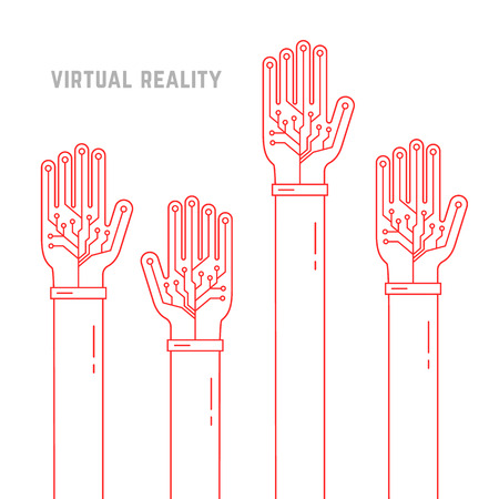 engrossed: virtual reality with thin line hands up