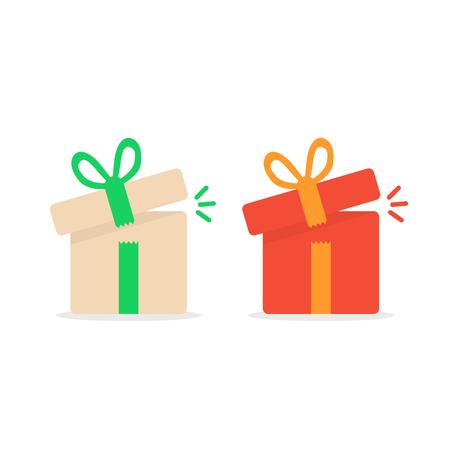 marvel: opened color gift boxes. concept of minimal kit, marvel, precious, giftbox strip, wonder, miracle, magic, xmas season, parcel. flat style logo graphic design vector illustration on white background Illustration