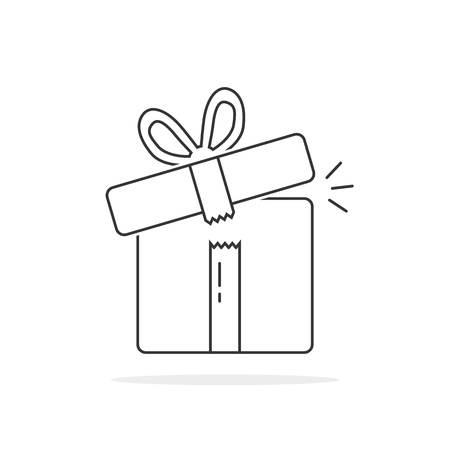 mobile app: thin line open gift box. concept of wonder, 8 march, women, valentine or mother day, invitation, fair, prize, rewards. flat style trend logotype graphic design vector illustration on white background