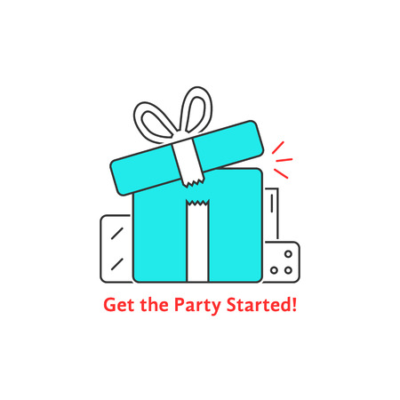 marvel: get the party started with thin line gift boxes. concept of 8 march, women, valentine or mother day, fair, rewards. flat style trend logotype graphic design vector illustration on white background