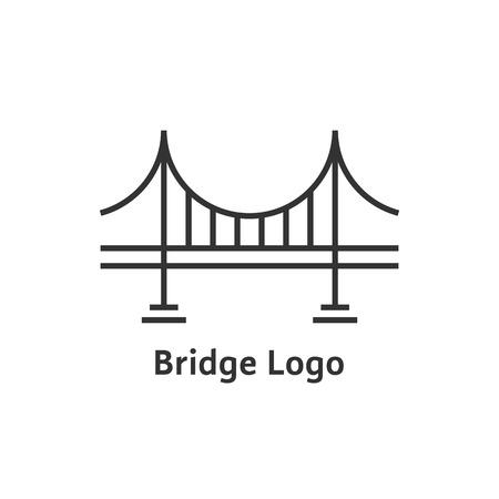 Een eenvoudig zwart embleem met dunne lijnbruggen. concept van plaats, visuele identiteit, contour van onroerend goed, hangbrug.