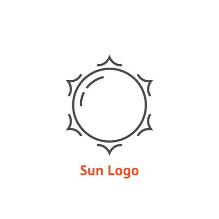 logotipo de sol simple delgada línea. concepto de resplandor, vacaciones, turismo, luz blanca, tropical, horizonte de primavera, sol, estrella de día.