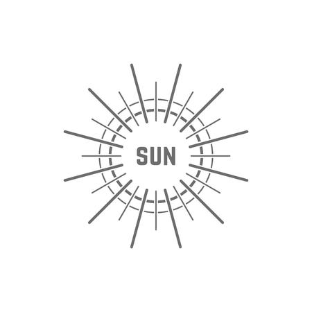 logotipo gris simple linear del sol. concepto de resplandor, vacaciones, luz blanca, tropical, horizonte de primavera, sol, día-estrella.