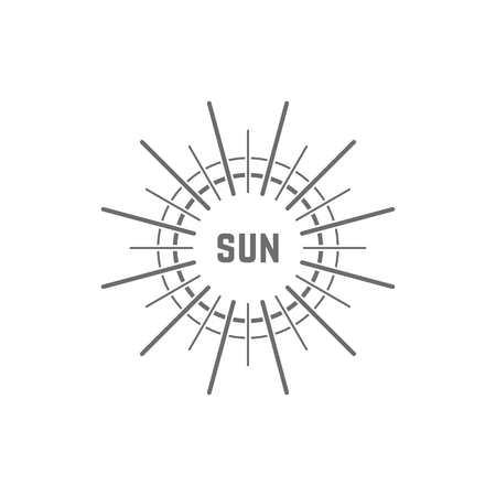 Logotipo gris simple linear del sol. concepto de resplandor, vacaciones, luz blanca, tropical, horizonte de primavera, sol, día-estrella. Foto de archivo - 84140754