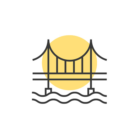 thin line sunset behind the bridge logo. concept of place, visual identity, real estate contour, suspension bridge.