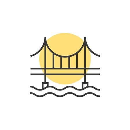 thin line sunset behind the bridge logo. concept of place, visual identity, real estate contour, suspension bridge.