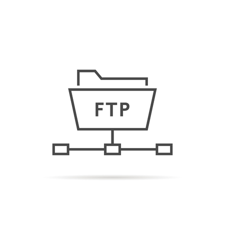 simple thin line ftp folder icon. concept of software update, router, teamwork tool management, copy process, info.