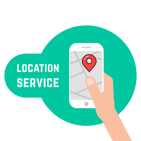 Hand holding phone like location service. Flat style trend modern graphic design vector illustration on white background.
