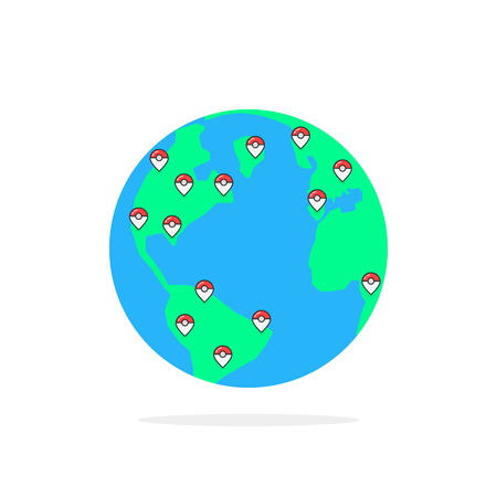 Colored pins on globus of earth. Flat style trend modern graphic design vector illustration on white background.