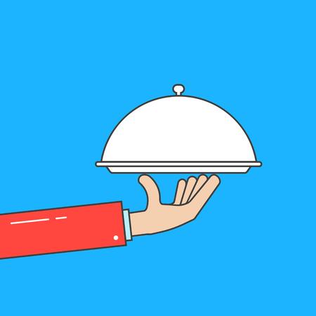 Waiter holding linear dish. Flat style trend modern graphic design vector illustration on white background. Illustration