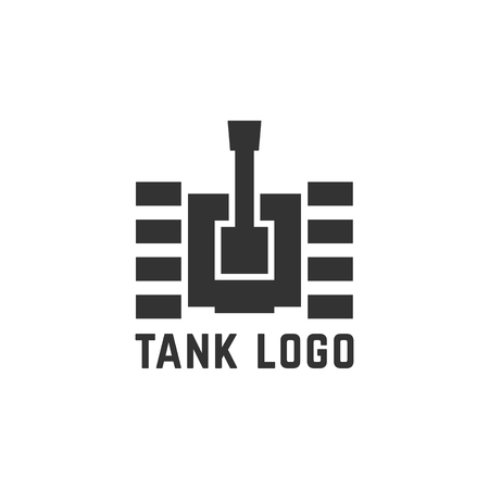 black simple tank . concept of destroy, crawler course, heavy armament, military unit, cannon, . flat style trend modern design element illustration on white