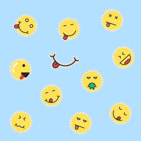 set of yellow emoji patches. concept of yummy, lick, sew, stitching, cutout, joke, joy, sad, depression, profile. flat style trend modern logotype graphic design vector illustration on blue background Ilustrace