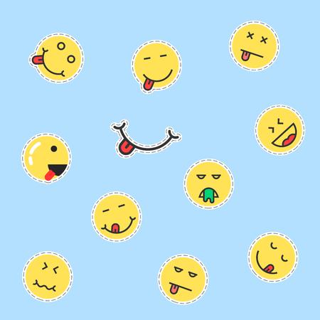 set of yellow emoji patches. concept of yummy, lick, sew, stitching, cutout, joke, joy, sad, depression, profile. flat style trend modern logotype graphic design vector illustration on blue background Illustration