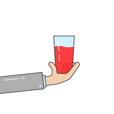 Linear hand holding a glass