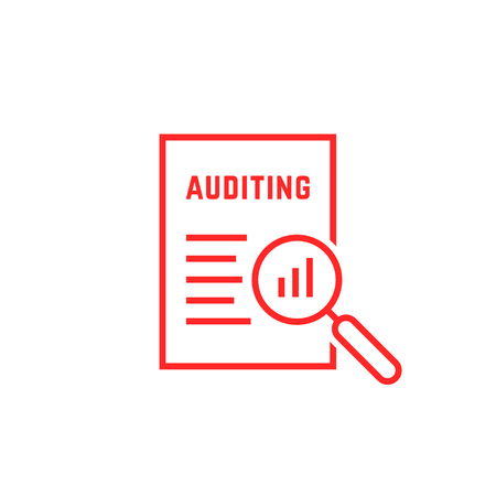 red linear document like auditing. concept of auditor, fax, seo, scrutiny, annual verification, evaluation, info, growth, forecast. flat style logotype design vector illustration on white background Illustration