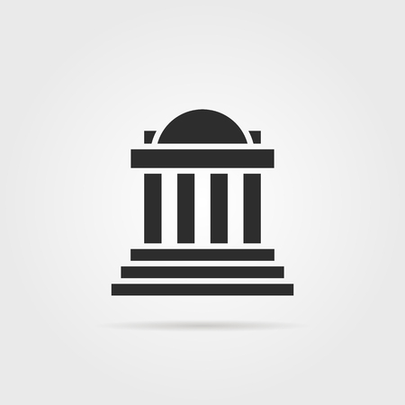 Black greek colonnade building with shadow. concept of corinthian, structure, library, facade, rome, university, doric, acropolis. flat style trend modern graphic design on gray