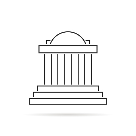 Thin line greek colonnade with shadow. concept of corinthian, structure, library, facade, rome, university, doric, acropolis, ruin. flat style trend modern graphic design on white