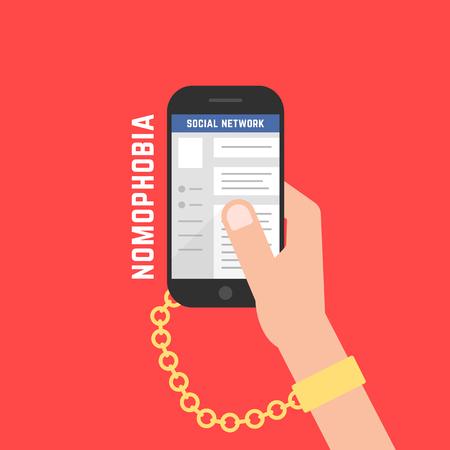 addiction from gadget with cellphone Ilustração