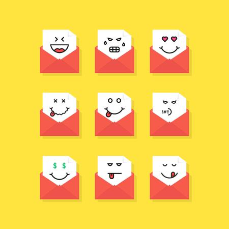 set of emoji messages in letters