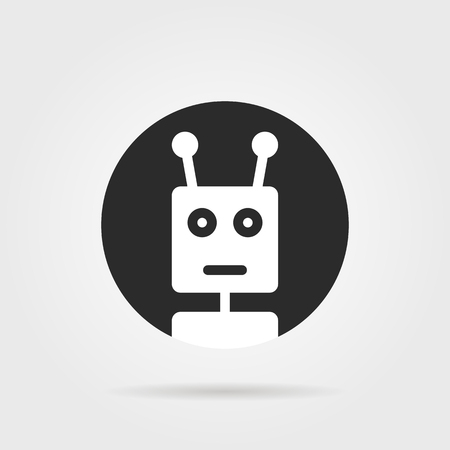 irc: Round chatbot icon with shadow. concept of cyborg, ai, irc, chatter box, engine, networking, android, droid, communication. flat style trend modern logotype graphic design element on gray background