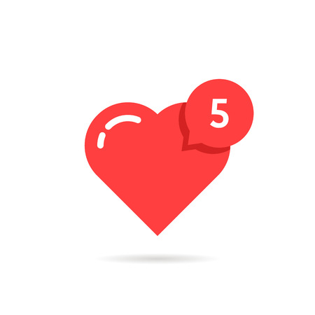 confirm: Red heart like simple notification. concept of user interface element, number count, popular vote, ad topic, web community, profile. flat style trend modern logotype graphic design on white background