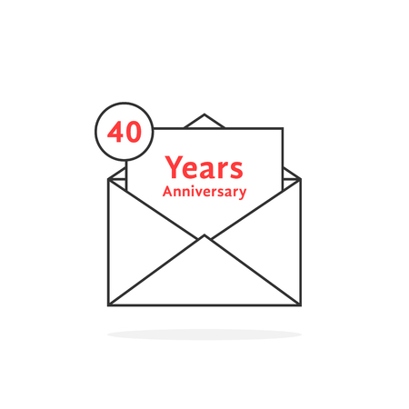 Thin line 40 years anniversary logo like open letter. concept of send sms e-mail, feast success, memorable advertisement typography. flat style trend modern logotype graphic design on white background