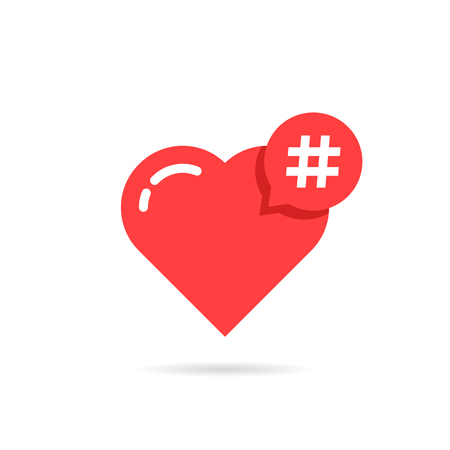 Hashtag logo like red heart. concept of promotion, share interesting message, information networking badge, smm, online community, pr, follow me. flat style modern graphic design on white background