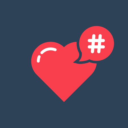 red hashtag icon like heart