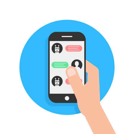 Messages with chatbot in phone. concept of send sms, irc script, chatter box, posting email, user interface information, assistant. flat style trend modern logo graphic design on white background Illustration