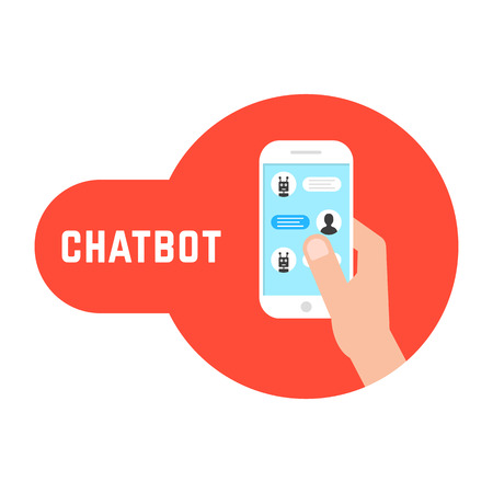 Hand holding phone with chatbot. concept of send sms, irc script chatter box, posting email, user interface information assistant. flat style trend modern red logo graphic design on white background