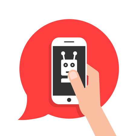 Chatbot-telefoon op rode toespraakbel. concept van sms-berichten, irc scriptchatkist, e-mail plaatsen, informatie-assistent gebruikersinterface. vlakke stijl trend moderne logo grafisch ontwerp op witte achtergrond Logo