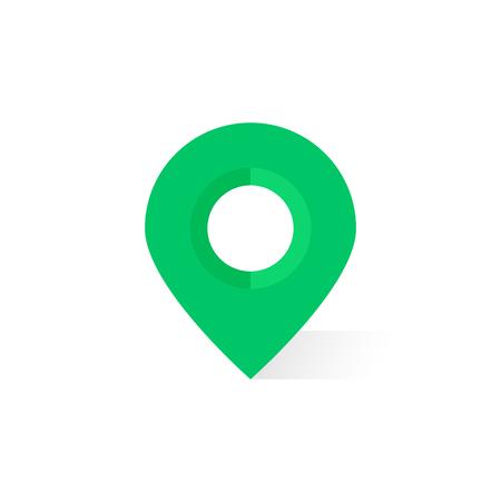semplice pin mappa verde con ombra