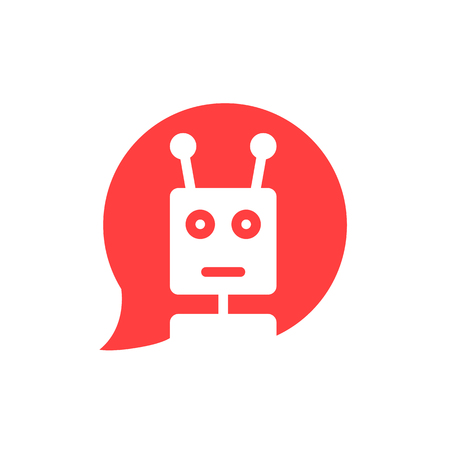 chatbot in red speech bubble