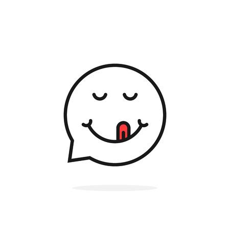 thin line gourmet emoji speech bubble logo