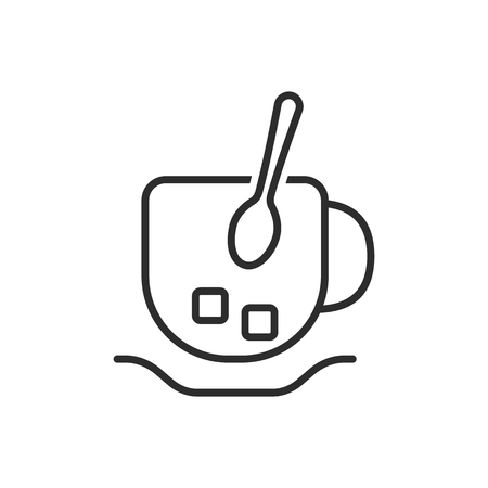 thin line cup and spoon icon