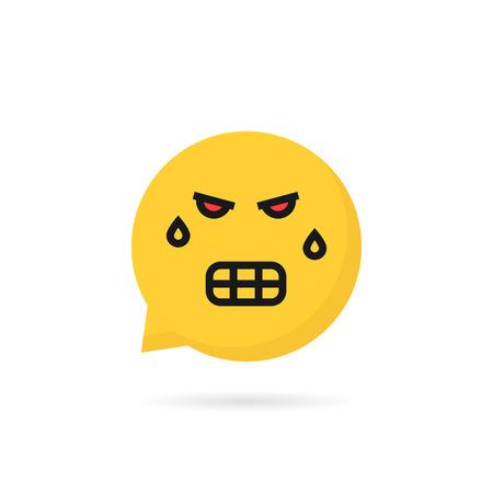 angry emoji speech bubble logo Illustration