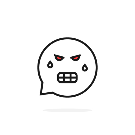 thin line angry emoji speech bubble logo Illustration