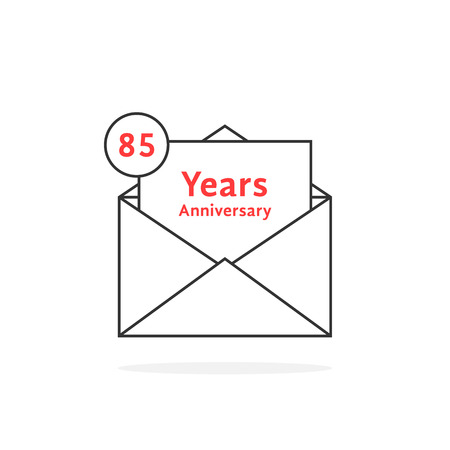 thin line 85 years anniversary logo like open letter