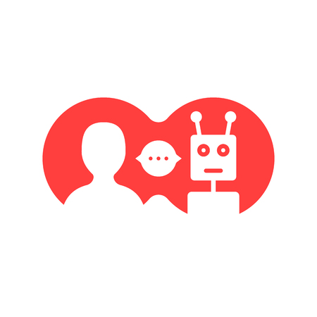 red simple chatbot hotline vector illustration. Illustration