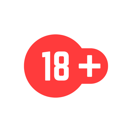 Simple 18 plus in red icon for restriction and censorship. Illustration