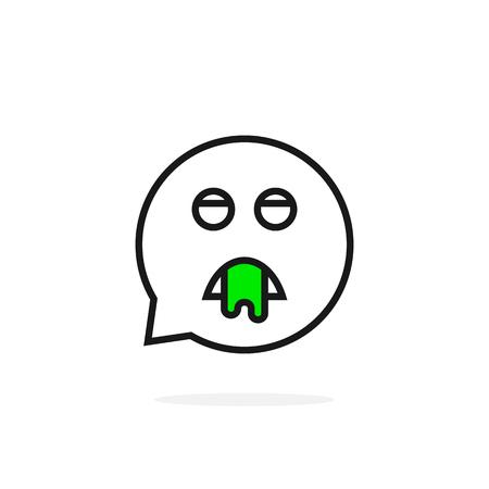 A thin line puke emoji speech bubble logo