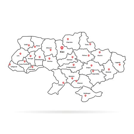 Een lineaire kaartspeld van de Oekraïne met regionale centra