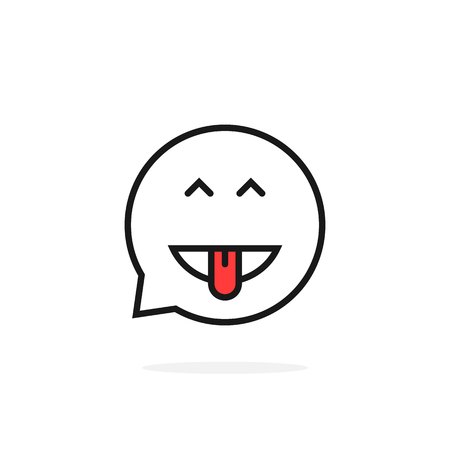 A thin line excited emoji speech bubble logo
