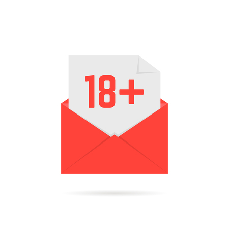 18 plus icon in red open letter on white. flat style trend modern ui logotype graphic unusual design. concept of permit alert for underage person or censor x-rated age limit mark