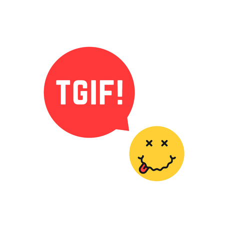 Yellow drunk emoji tgif icon like thank god it is friday. concept of expression of happiness on the face or funny emoticon with red ad emblem. flat style trend modern graphic unusual design on white