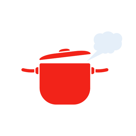 Red pan with steam icon vector illustration Stock Illustratie