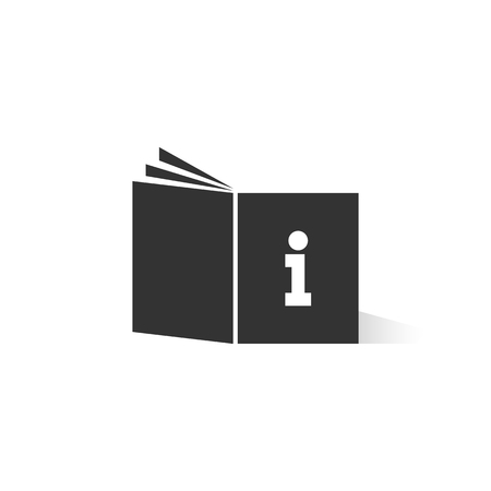 Black tutorial book emblem with shadow vector illustration