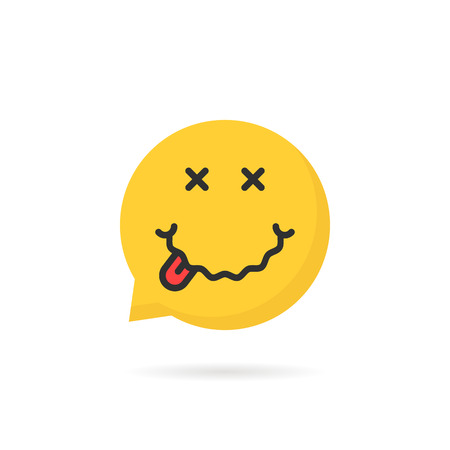 drunk yellow emoji speech bubble icon on white. concept of abstract facial avatar with positive face or humor icon like drunkenness on weekend. flat style trend modern design meme emblem