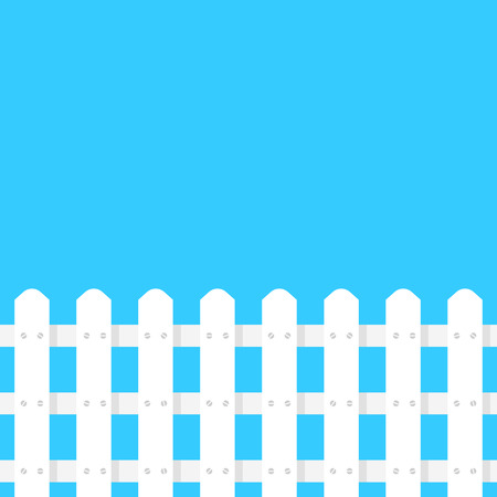 simple white fence garden on blue background. concept of decoration of homestead neer house and border between neighbors